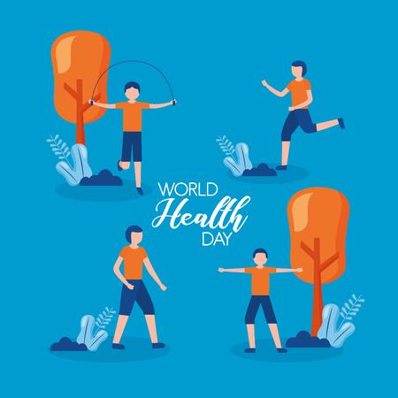 group men world health day vector illustration