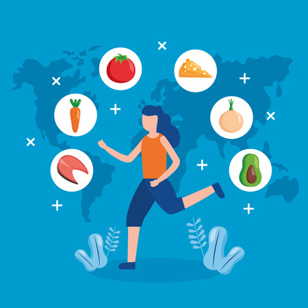 young woman running sport world health day vector illustration