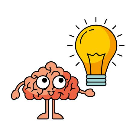 cartoon brain bulb creativity idea vector illustration