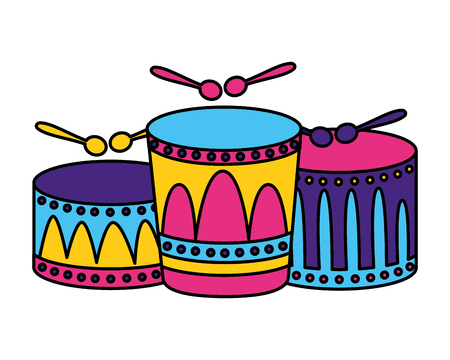 musical drums with sticks vector illustration design