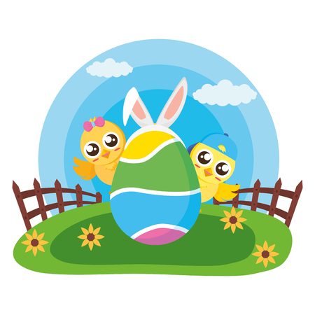 happy easter couple chicks egg decoration vector illustration