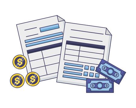 belastingbetaling documenten bankbiljet munten geld vectorillustratie
