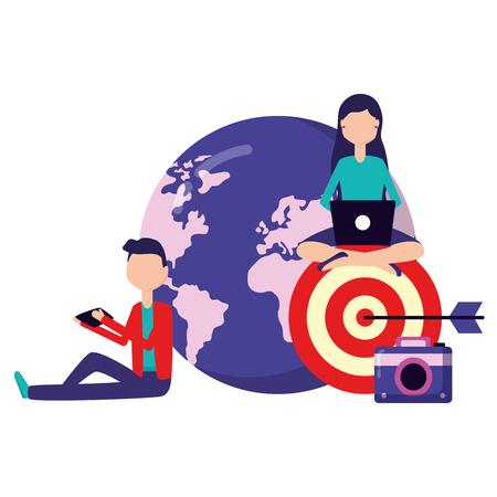 people world target camera laptop mobile social media Illustration