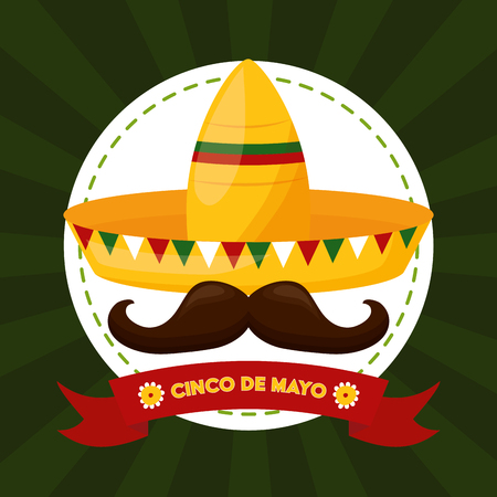 hat mustache mexico cinco de mayo sticker vector illustration  イラスト・ベクター素材