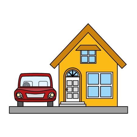 house property with car vector illustration design Standard-Bild - 122647462