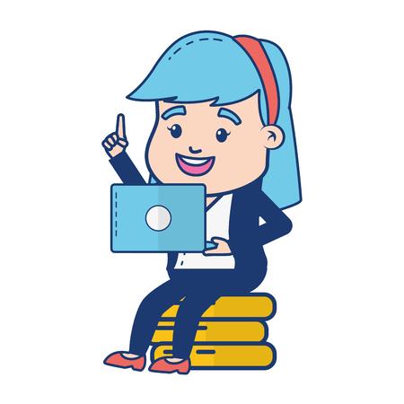business woman laptop money online banking vector illustration Stock Vector - 122647463