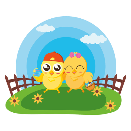 happy easter couple chicks in the meadow vector illustration