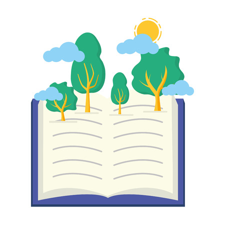 open book forest trees - world book day vector illustration Stock Vector - 121941298