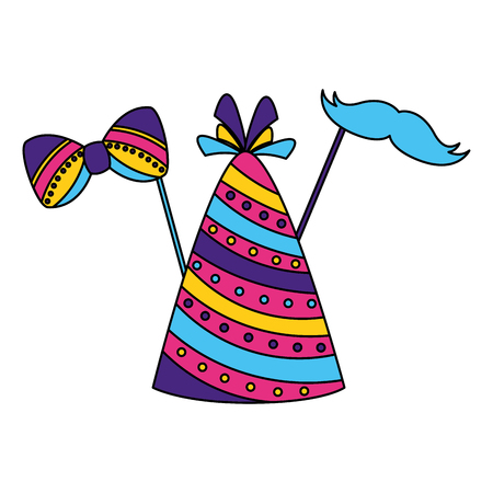 carnival hat party bowtie mustache vector illustration