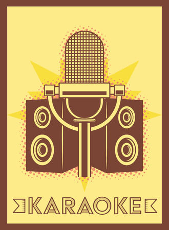 microphone speakers karaoke retro style poster vector illustration 일러스트