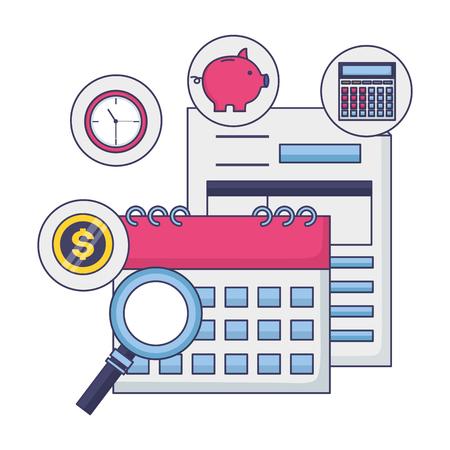 tax payment document calendar clock money magnifier vector illustration Standard-Bild - 122647488