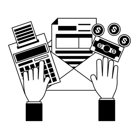 hands form calculator money tax payment vector illustration