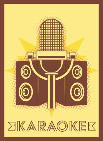 microphone speakers karaoke retro style poster vector illustration  イラスト・ベクター素材