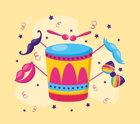 drum with lips mustache sticks vector illustration design