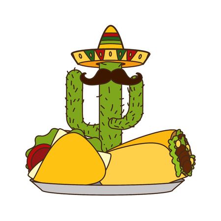 mexican cactus taco burrito cinco de mayo vector illustration  イラスト・ベクター素材