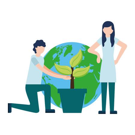 couple world plant earth day vector illustration Ilustração