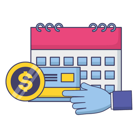 hand with calculator bank card money tax payment vector illustration
