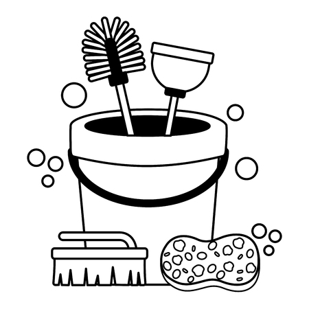 bucket sponge brush plunger spring cleaning tool vector illustration