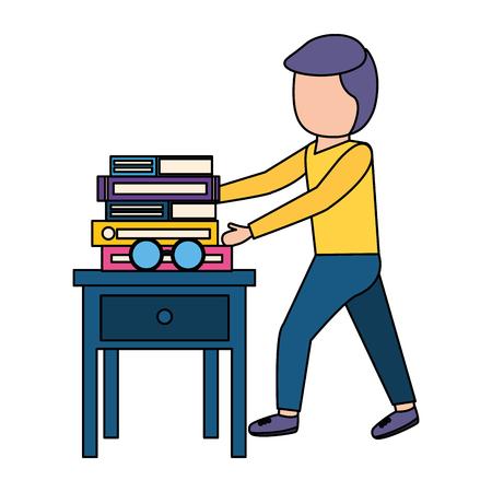 man and books eyeglasses on table vector illustration