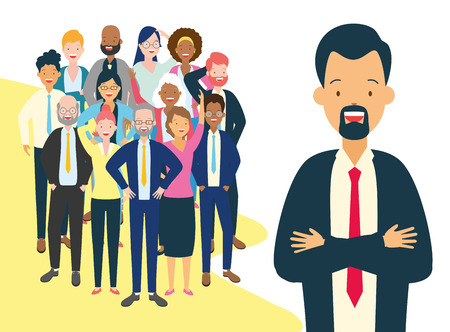 diversity man and crowd characters vector illustration