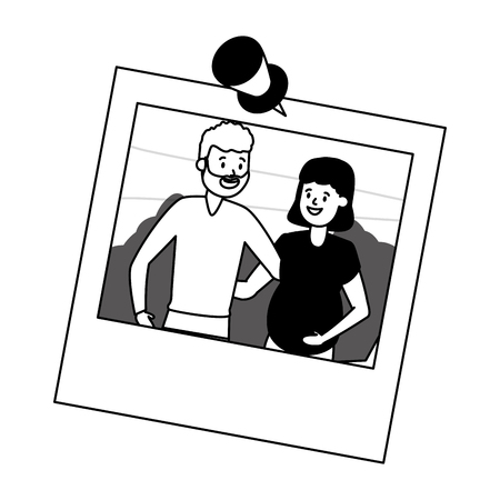 photo family smiling pregnant couple vector illustration design vector illustration design  イラスト・ベクター素材