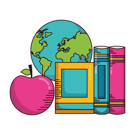 school books map apple supplies vector illustration design