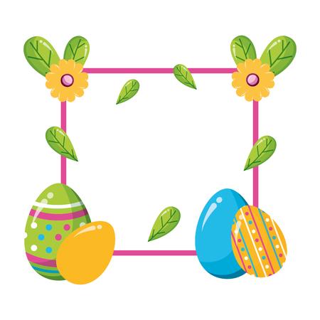 happy easter eggs flower floral frame vector illustration