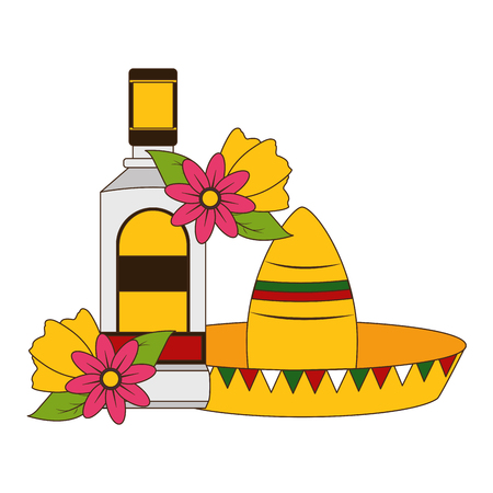 mexican hat traditional tequila hat flowers vector illustration 写真素材 - 122647552