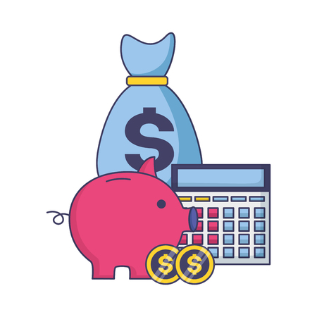 piggy money bag calculator tax time payment vector illustration Illustration
