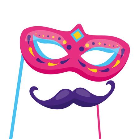Máscara de carnaval y bigote, diseño de ilustraciones vectoriales