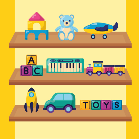 kids toys rocket bear car train cubes plane in shelf wooden vector illustration