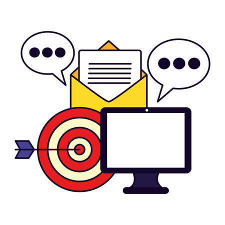 computer email target message social media vector illustration