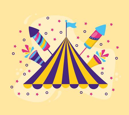 carnival tent flag rocket fireworks vector illustration design Illustration