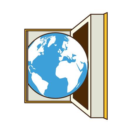 open book earth sky - world book day vector illustration