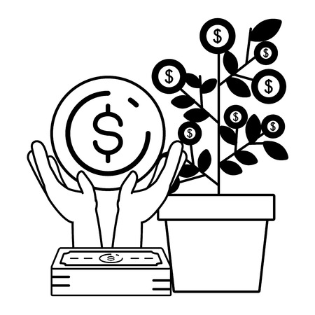 business money growth plant vector illustration design