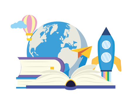 rocket textbook paper plane - world book day vector illustration