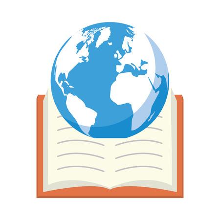 Planète manuel ouvert - illustration vectorielle de la journée mondiale du livre