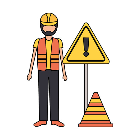 construction worker traffic caution sign cone vector illustration