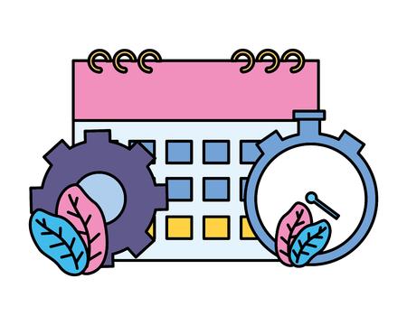 clock time calendar gear on white background vector illustration vector illustration Illustration