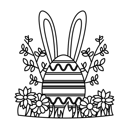 happy easter egg flowers branch grass vector illustration Standard-Bild - 122647610