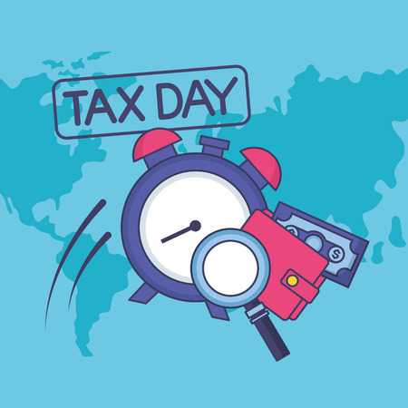 clock magnifier wallet money tax payment vector illustration Ilustrace