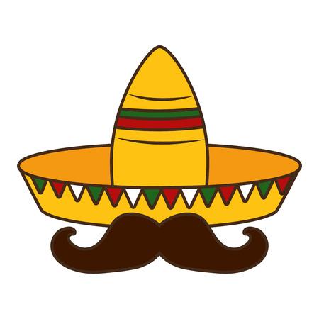 hat mustache mexico cinco de mayo sticker vector illustration Illustration