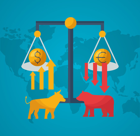 bull bear upward and downward money exchange stock market vector illustration
