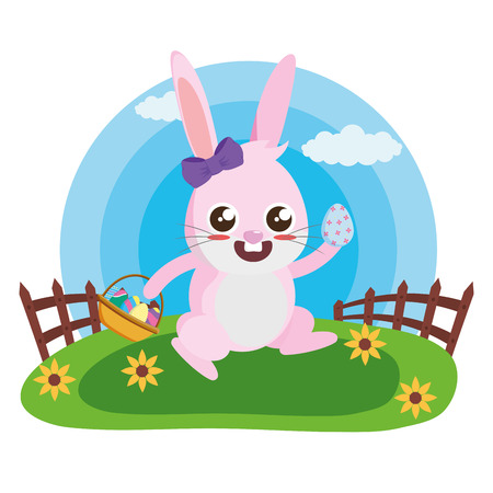 happy easter rabbit with basket and eggs vector illustration Illustration