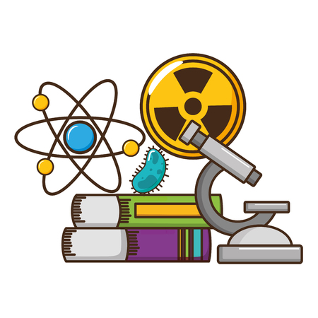 school science radiation atom books bacteria miscroscope vector illustration design