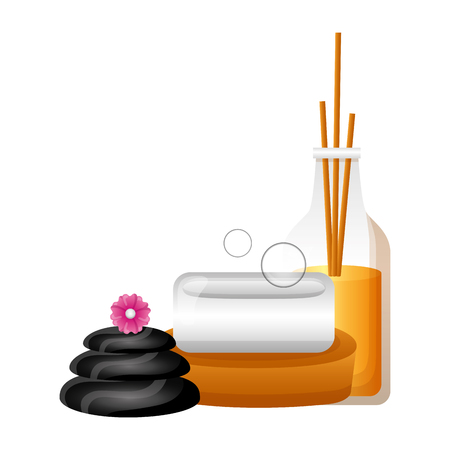 aromatherapy sticks soap stones flowers spa treatment vector illustration