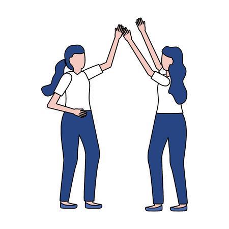 celebrating women characters on white background vector illustration Foto de archivo - 122647657