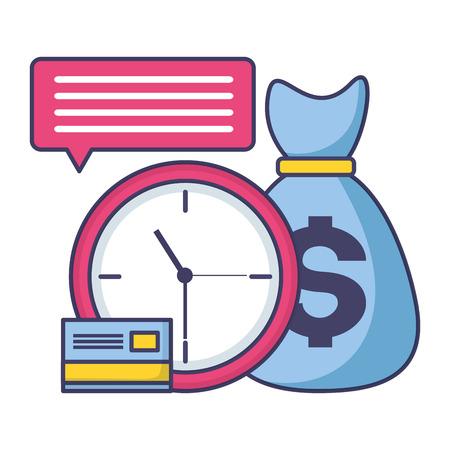 clock money bag bank card tax time payment vector illustration Ilustração