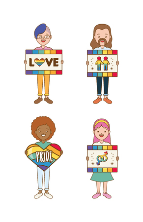 happy group women boards heart lgbt pride vector illustration