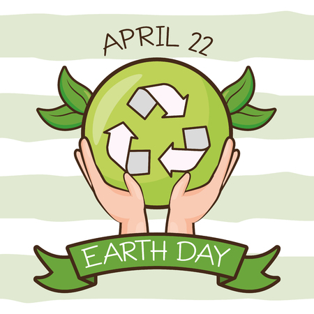 Les mains avec l'illustration vectorielle de la carte du jour de la terre emblème de recyclage